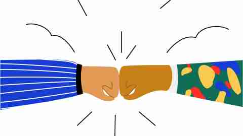 Best friends bumping fists  to each other. Friendship  and respect concept. Teamwork symbol motivation to achieve results in work.Flat doodle illustration in  cartoon style