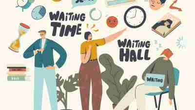 Waiting concept – illustration of people waiting in various situations