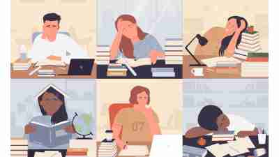 Illustration showing six students studying and doing homework while experiencing burnout (slumped over their work, hand over head, concerned looks)