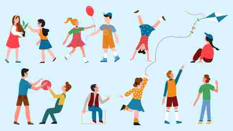 ADHD in childhood: Children play vector illustration set. Cartoon happy boys and girls characters playing different fun games together collection, child flying kite outdoors, holding houseplant, jumping with ball (Children play vector illustration set. Cartoon happy boy