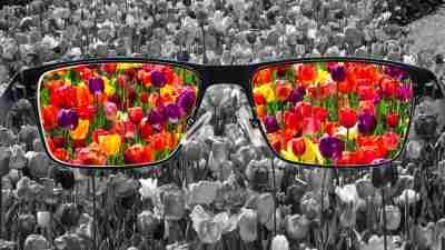 understand myself: Eyeglasses held before a field of black and white flowers. Flowers in eyeglasses are colorful