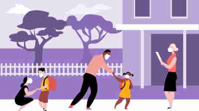 schools reopening concept image: illustration of parents dropping masked students off at school