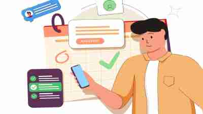 time management apps for teens with ADHD - illustration of a young adult holding a smartphone with time management concepts behind