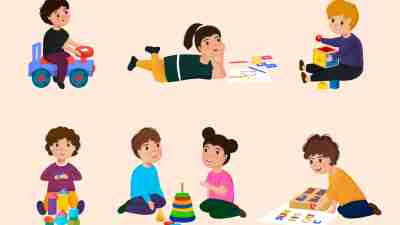 Children in a kindergarten. Group behavior. Kids playing. Day care center. Nursery school. Educational, early development concept. Editable vector illustration in cartoon style. Horizontal background.
