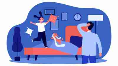bedtime battles - illustration of a parent watching as their child jumps on the bed and plays around