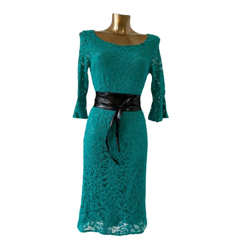 turqoise kanten jurk
