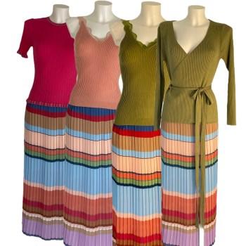 multicolour pleated skirt