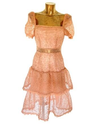 nude kanten midi-jurk