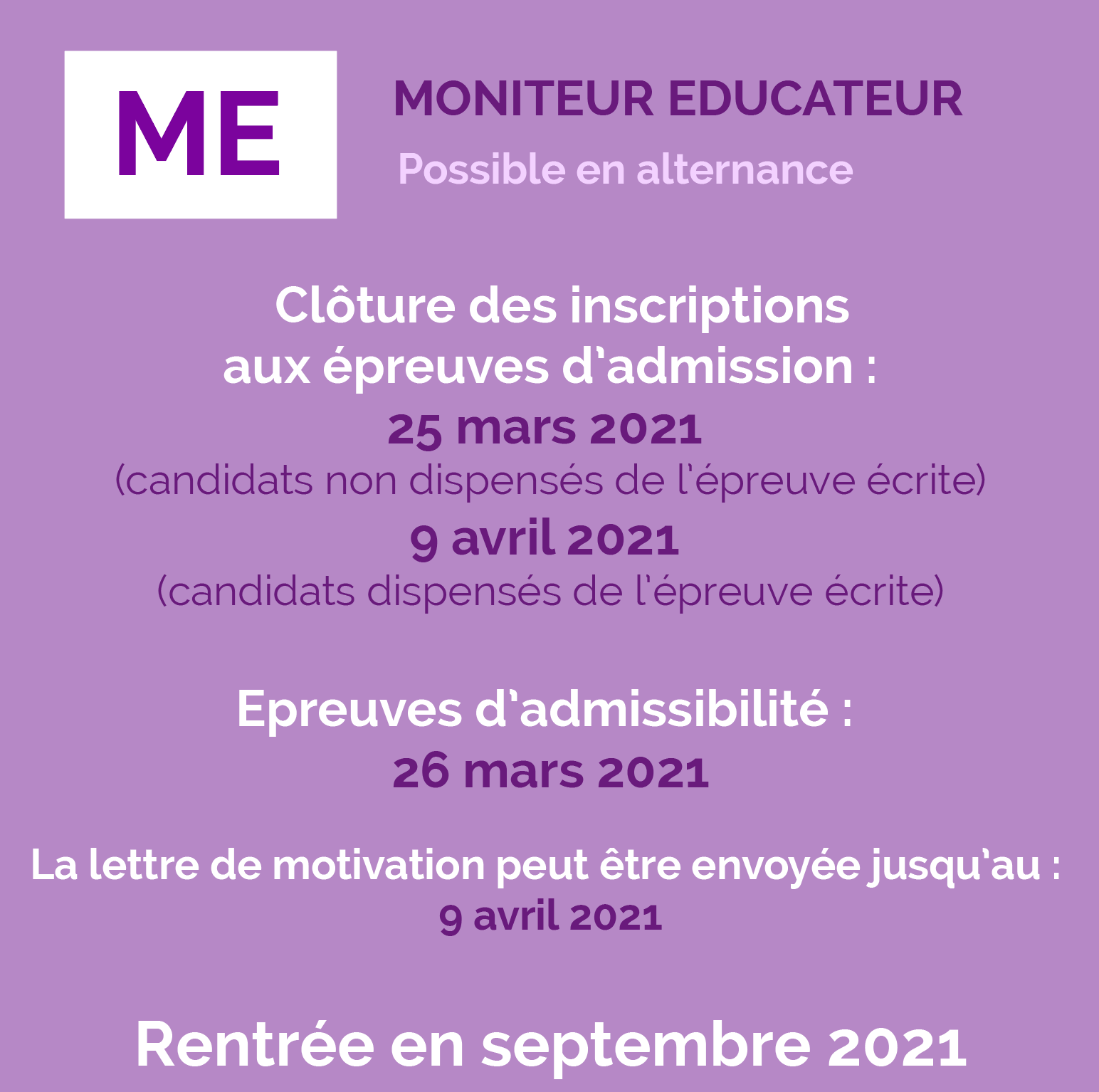 [Inscription sélection] Moniteur Educateur (ME)