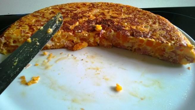 Tortilla de Calabaza con Jamón y Queso abierta