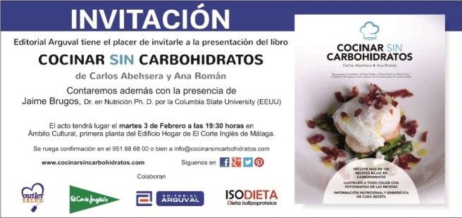 Invitación a la presentación del libro Cocinar sin Carbohidratos