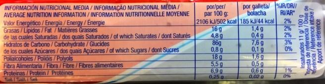 Valores nutricionales de las galletas Chiquilin 0% Azúcares