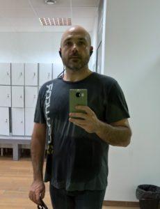 Una foto de Octubre de 2016, al acabar de entrenar en el gimnasio
