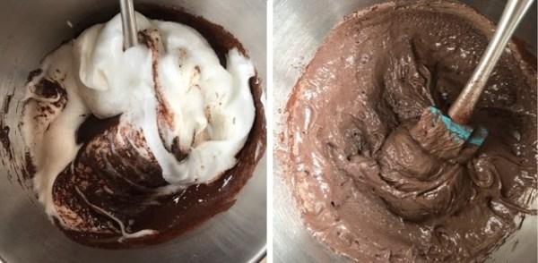 Mezcla de claras y chocolate
