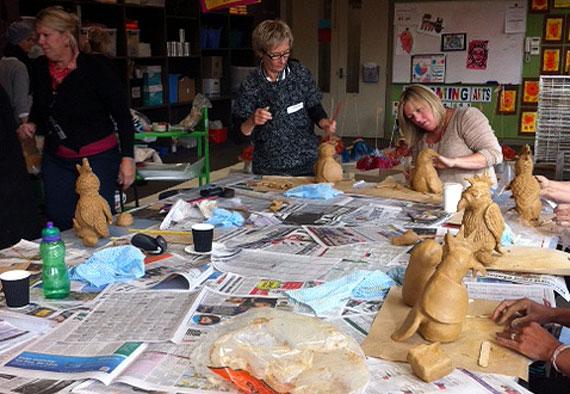 Ceramic Birds sculptures with Year 7