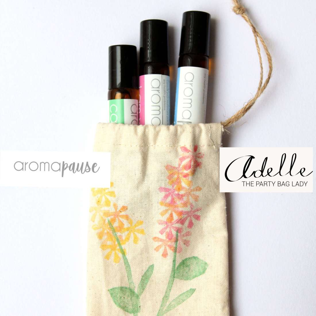 AromaPause - Set of 3 Aromatherapy essential oil rollers in carry bag