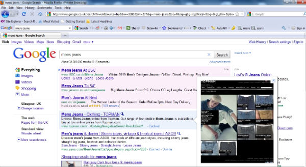 google website preview search