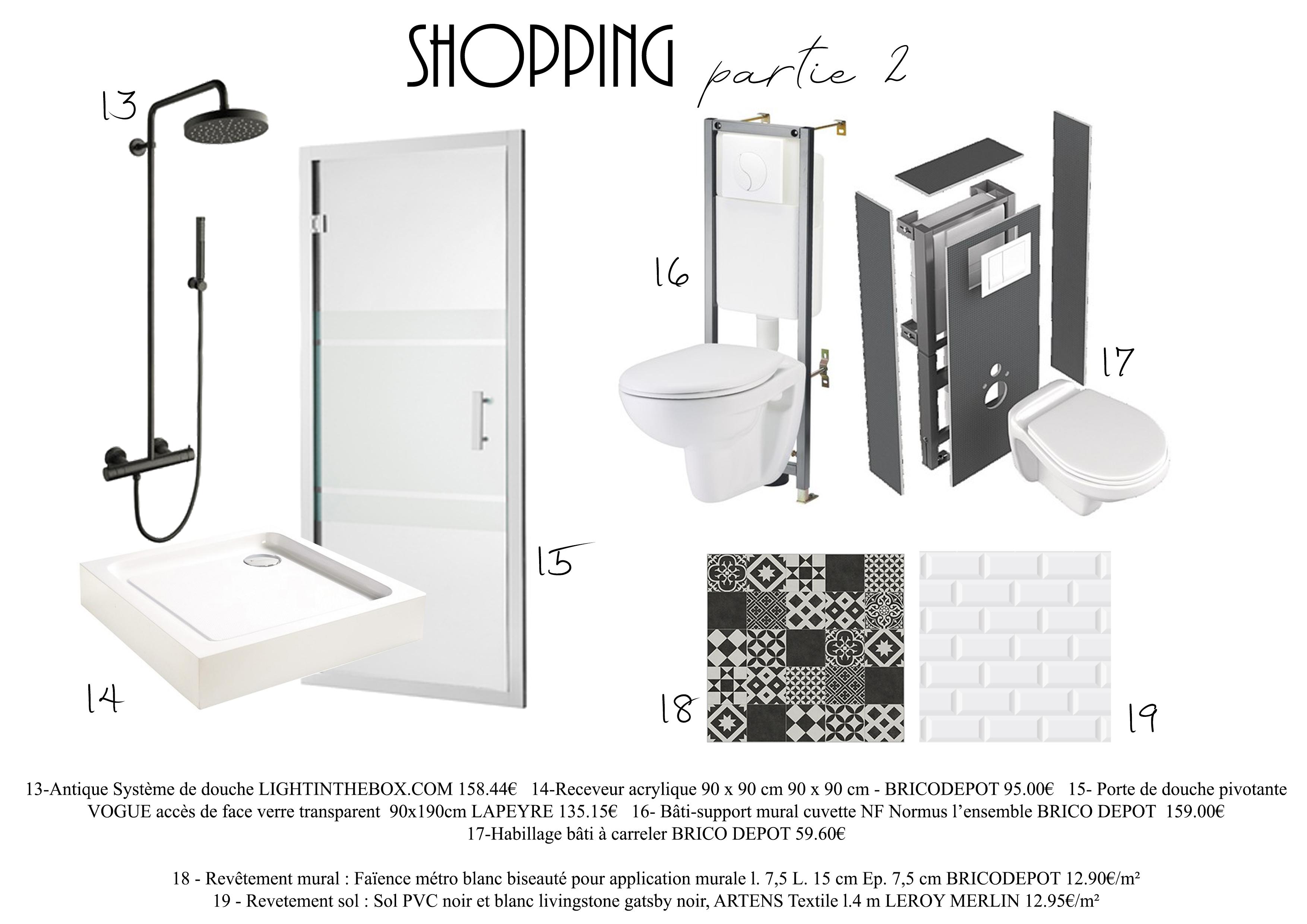 Planche shopping matériaux - Salle d'eau