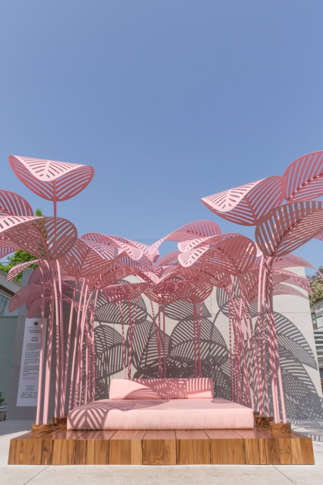 La Refuge - the most Instagrammed object at Milan Design Week | Le Refuge, a pink, jungle-like daybed designed by Parisian/Italian artist and designer Marc Ange at the Wallpaper* Handmade exhibition space in collaboration with The Invisible Collection and Green Gallery
