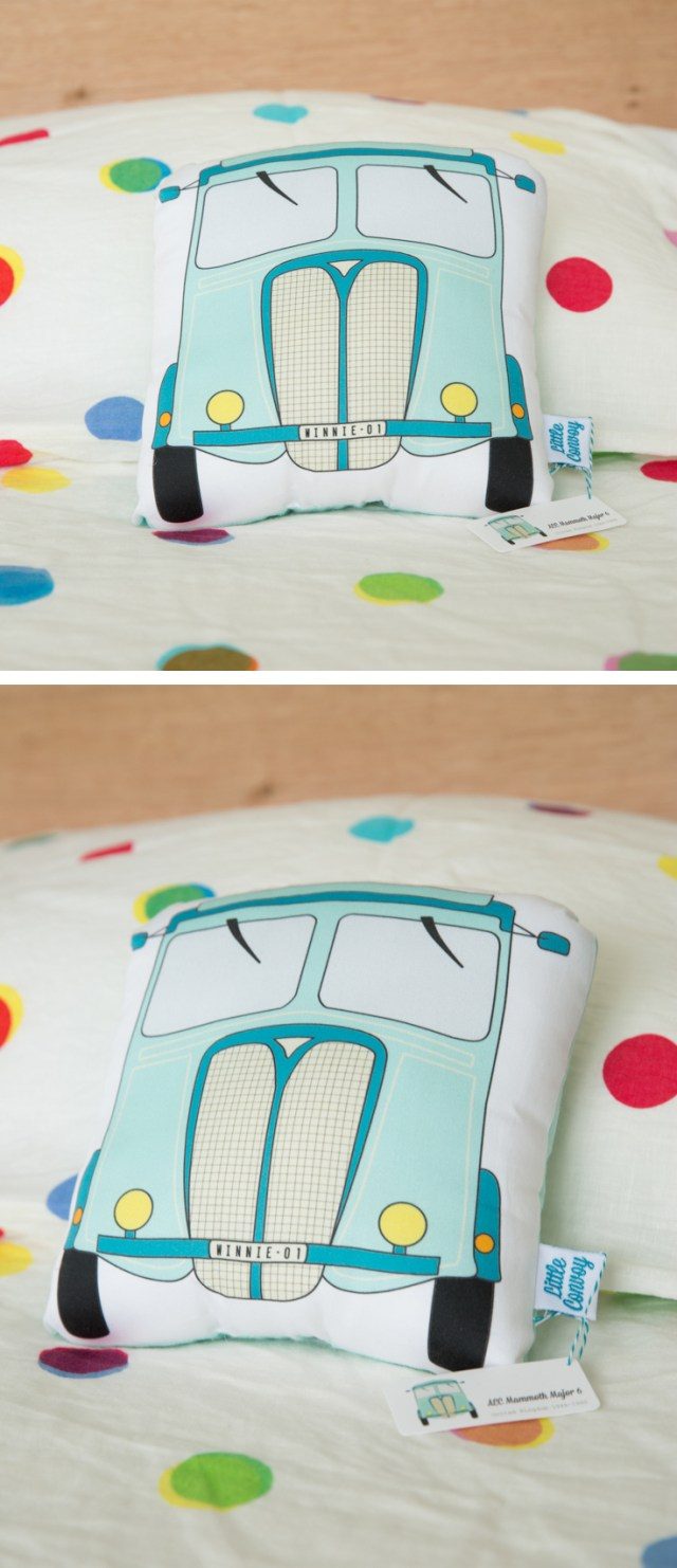 Kitty of Little Convoy makes cuddly truck soft toy pillows from drawings of her favourite vintage trucks. The trucks are first hand drawn, and then digitally drawn and coloured. They are printed on certified organic cotton, with organic cotton backing and filled with stuffing. Each truck is handmade. Great presents for newborn baby, little boy, or little girl!