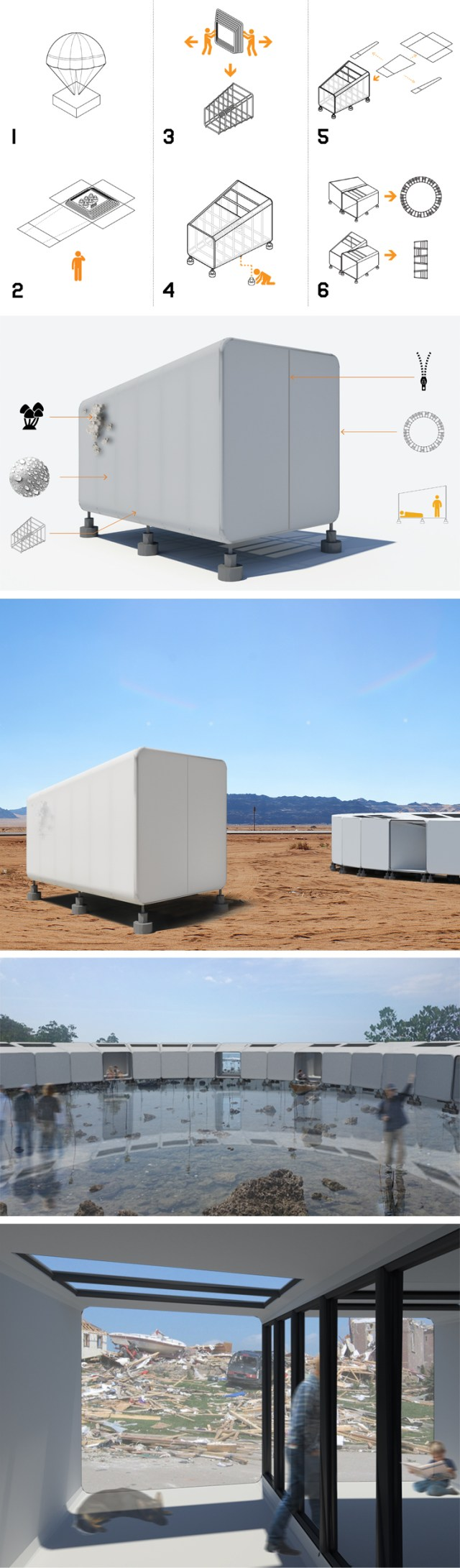 A temporary shelter for displaced populations, Homeless YET Home POD is a lightweight, modular, easily assembled, easily transported, temporary shelter for displaced populations throughout the world. POD: HOMELESS YET HOME | Designer: MODlab (Eric Schwartzbach and Benjamin Ward) | Lexus Design Award 2017 | Milan Design Week | La Triennale di Milano | Awesome Products #product_design