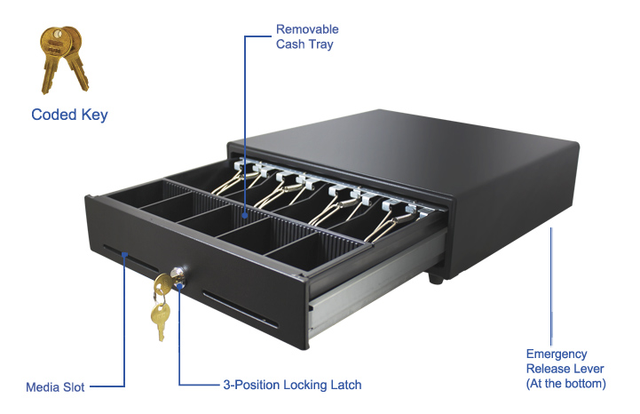 13 Pos Cash Drawer With Removable Cash Tray