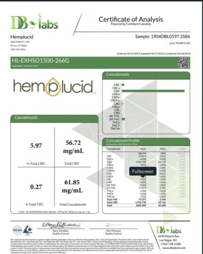 hemplucid hemp seed oil 1500 coa