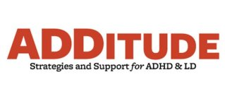 a logo of additude with their subtitle