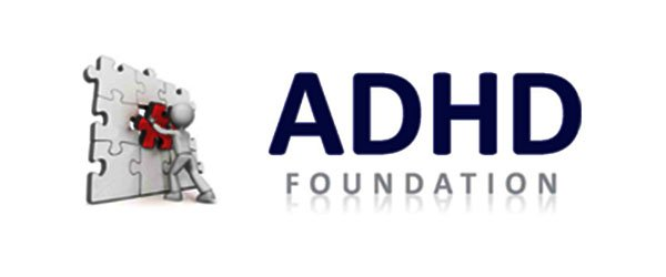 a logo of adhd foundation with an icon of a puzzle and a human figure
