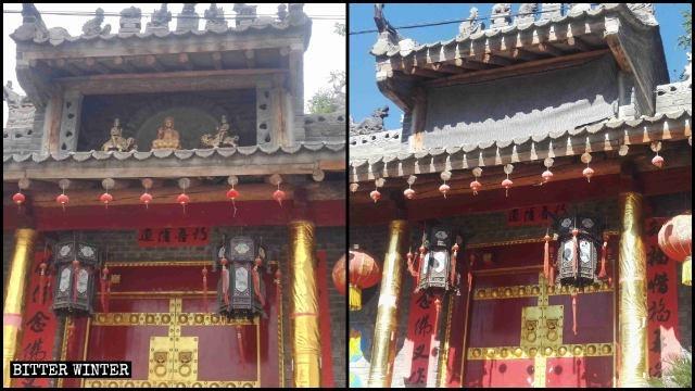 """""""灵应寺""""大门上的三个佛像被遮盖对比图"""