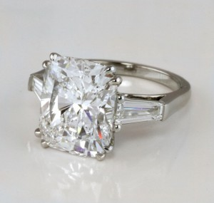 Radiant Diamond Engagement Ring with Baguettes