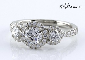 Adiamor's three halo diamond ring