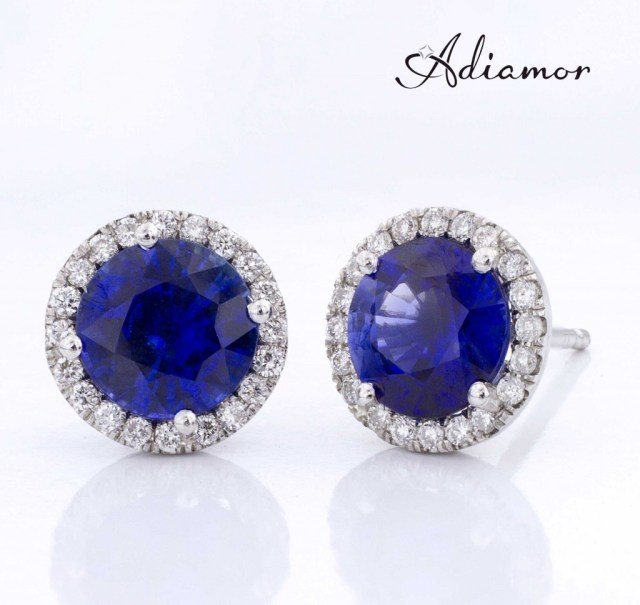 Adiamor's sapphire diamond halo earrings