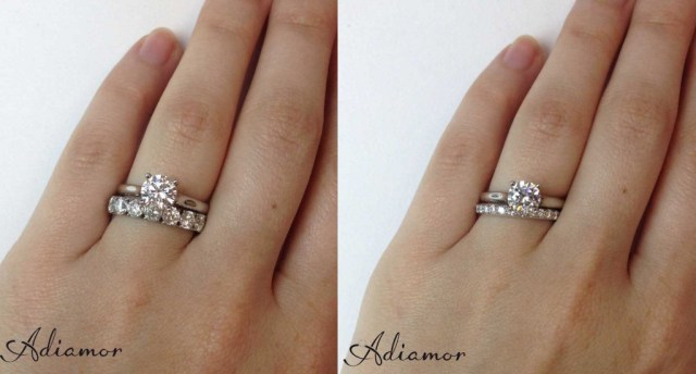 Solitaire Diamond Ring with 1 cttw and 3 cttw Eternity Bands