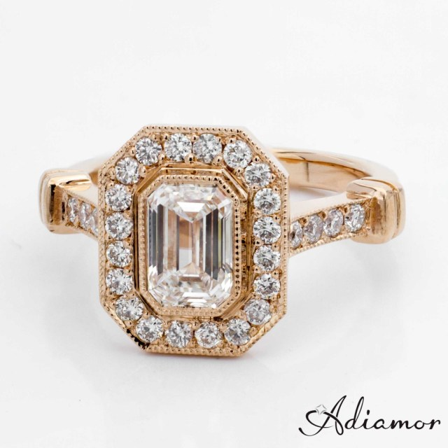 Custom Rose Gold Emerald Cut Diamond Engagement Ring