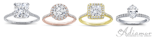 Thin Band Diamond Accented Engagment Rings