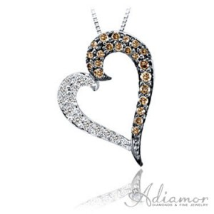 White-and-Chocolate-Diamond-Heart-Pendant