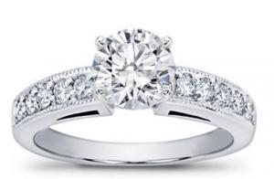 petite milgrain pave engagement ring