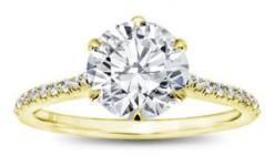 6 Prong Diamond Band And Basket Engagement Setting 14K Yellow Gold