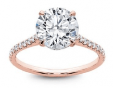 French Cut Basket Setting Diamonds 1/2 Way 18K Rose Gold