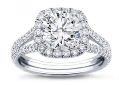 Split Shank Halo Setting For Cushion Cut Diamond 14K White Gold