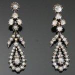 Antique diamond dangle chandelier earrings 18kt rose gold