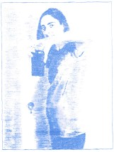 """13 weeks, blue transfer paper on paper, 8"""" x 6"""", 2016"""