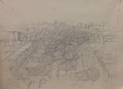 F. Collins, Cityscape, Drawing Fundamentals, MassArt Summer Intensives, 2013