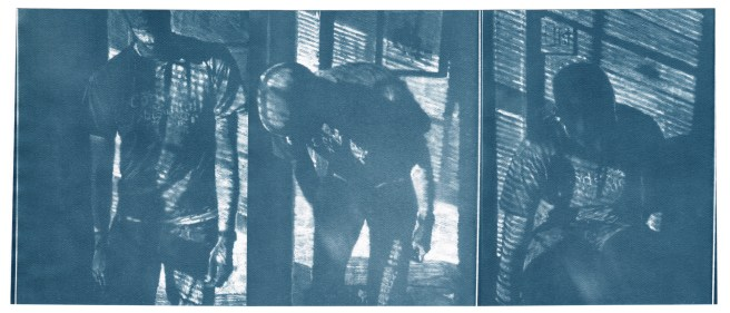 "Code, cyanotype contact prints of graphite drawings on vellum, 10"" x 23.5"", 2015"