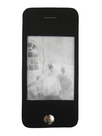 """iPhone 5, graphite on vellum with black paper, staple, and thumbtack, 4.75"""" x 2.25"""", 2014"""