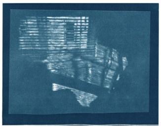"Neighbors, cyanotype contact print of graphite drawing on vellum, 8"" x 10"", 2015"