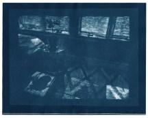 "Progress, cyanotype contact print of graphite drawing on vellum, 8"" x 10"", 2015"