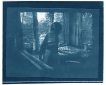 """Stretch, cyanotype contact print of graphite drawing on vellum, 8"""" x 9.75"""", 2015"""