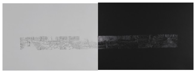 "Ticks and Shoelaces, graphite on paper, 22"" x 60"", 2012"